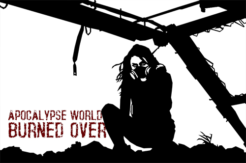 A person in a gas mask in a ruined environment: Apocalypse World: Burned Over