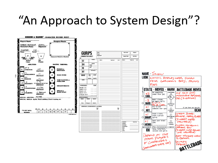 """An Approach to System Design""? 3 character sheets: one from Dungeons & Dragons, one from GURPS, and one from Apocalypse World."