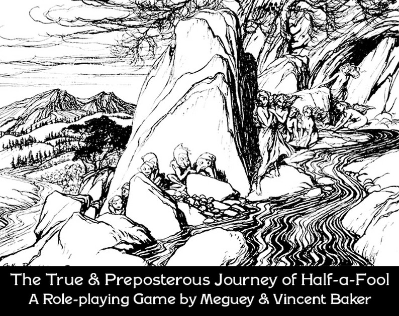 A drawing of goblins and sylphs by a river in a dramatic landscape.