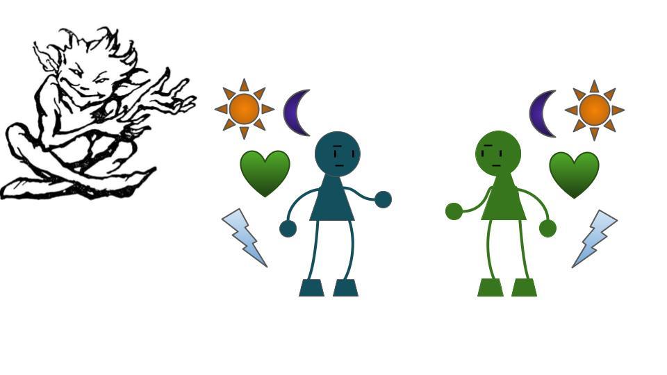 Two strangers with symbols floating around them: sun, moon, heart, lightning.