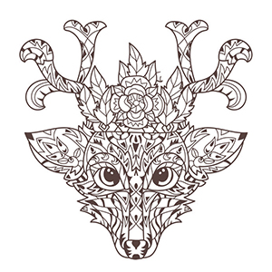 A doodle of a crowned stag.