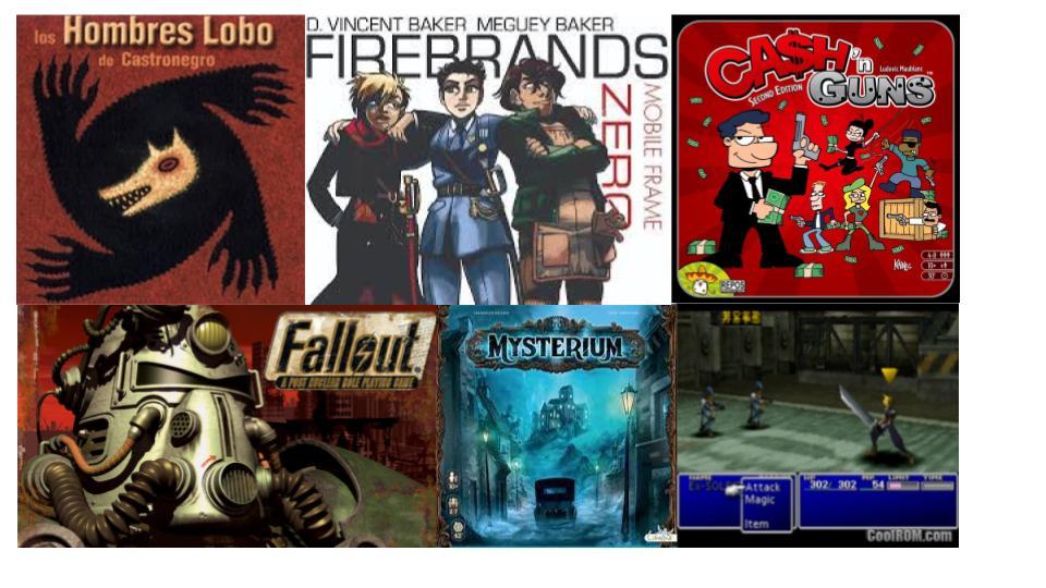 Game cover images: Los Hombres Lobo de Castronegro Mobile Frame Zero: Firebrands Cash & Guns Fallout Mysterium Final Fantasy 7