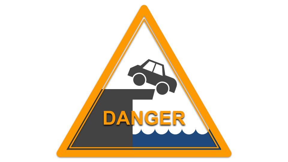 """A road sign, """"DANGER,"""" showing a bridge out."""