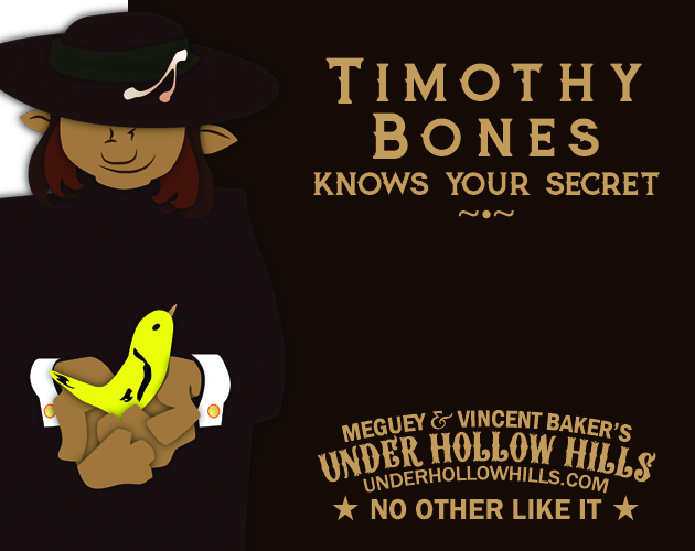 A witch with a wishbone on their hat, holding a goldfinch in their cupped hands. Timothy Bones Knows Your Secret Meguey & Vincent Baker's Under Hollow Hills No Other Like It
