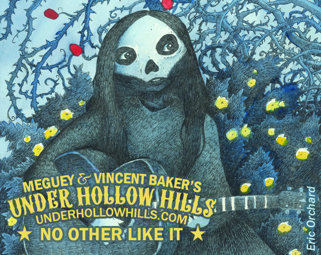 The Winding Rose by Eric Orchard A fairy among flowers and thorns, wearing a skull mask, playing a guitar Meguey & Vincent Baker's Under Hollow Hills No Other Like It